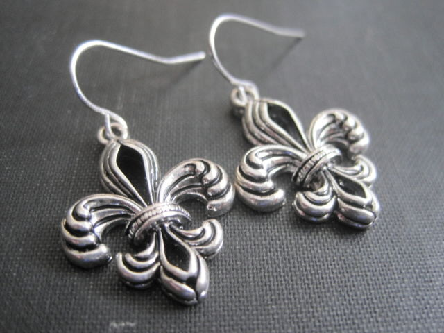 Fleur De Lis Antique Silver Dangle Earrings - product images  of
