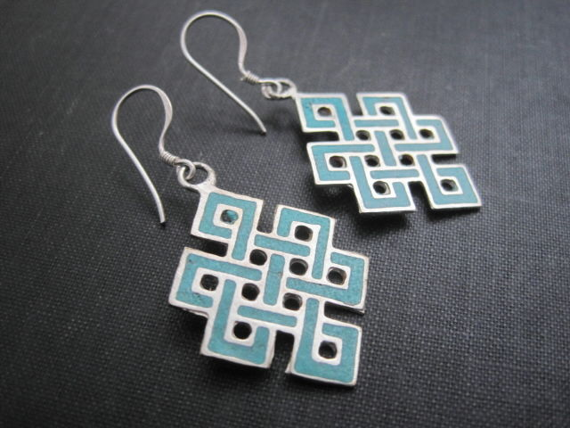 Endless Knot Turquoise Dangle Earrings Vamps Jewelry Gothic Victorian