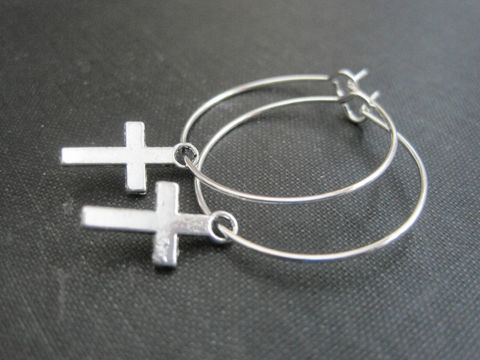 Mini,Cross,Hoop,Earrings,Mini Cross Hoop Earrings