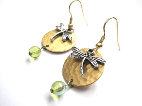 Dragonfly,Brass,Hammered,Disc,Layered,Dangle,Earrings,dragonfly, brass, hammered disc, layered earrings, aurora borealis, green gold tone, dragonfly earrings, antique gold, summer jewelry, fashion jewelry, vamps jewelry, handmade