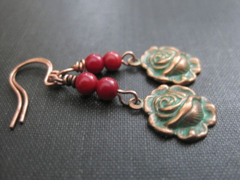Verdigris,Patina,Rose,Coral,Copper,Dangle,Earrings,verdigris patina rose copper earrings, patina rose earrings, vamps jewelry, victorian rose copper earrings, coral earrings, copper dangle earrings, green verdigris, red, rose, handmade earrings flower jewelry rose jewelry, garden flower jewelry, wire wrap