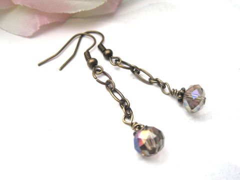 Faceted,Crystal,Antique,Brass,Chain,Dangle,Earrings,Faceted Crystal Antique Brass Chain Dangle Earrings