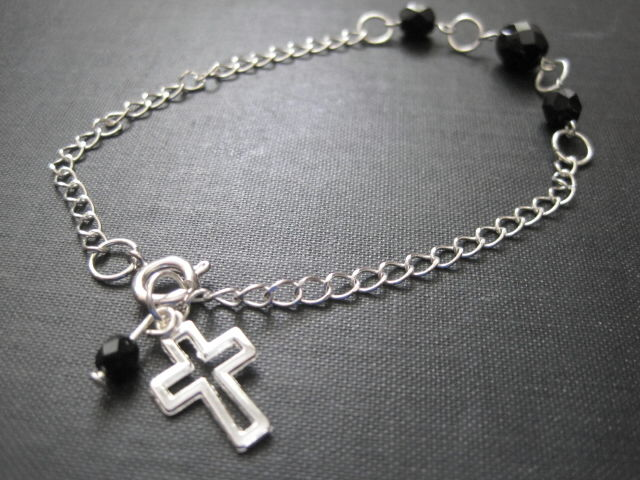 Gothic Black Glass Cross Chain Bracelet - product images  of