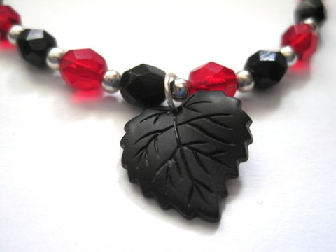 Black,Leaf,Gothic,Bracelet,,Red,and,Czech,Glass,Black Leaf Gothic Bracelet, Red and Black Czech Glass