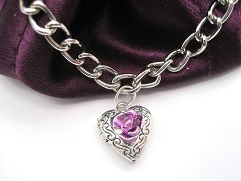 Victorian,Heart,Locket,Charm,Bracelet,Victorian Heart Locket Charm Bracelet, silvertone link chain,lobster claw clasp,jump rings,ornate heart locket charm,lavender metallic rose bead,victorian, romantic, heart, locket, charm, charm bracelet, ornate, vintage look, rose, lavender, silver, chain