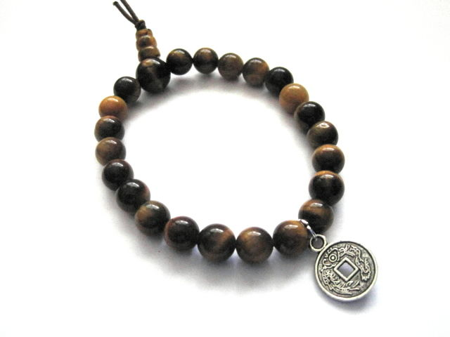 Chinese Lucky Coin Tiger Eye Bracelet Vamps Jewelry Gothic Victorian
