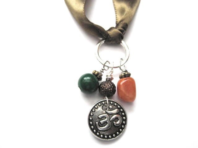 Om Symbol Silk Ribbon Gemstone Multi Wrap Bracelet Necklace Vamps