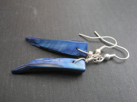 Blue,Mother,of,Pearl,Shell,Tribal,Dangle,Earrings,mother of pearl, blue, shell, fang, spike, dagger, tribal, earrings, mother of pearl shell earrings, tribal earrings, vamps jewelry