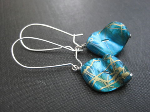 Ocean,Blue,Drawbench,Mother,of,Pearl,Shell,Nugget,Dangle,Earrings, Drawbench, Mother of Pearl, Shell, Nugget, Turquoise, Dangle Earrings