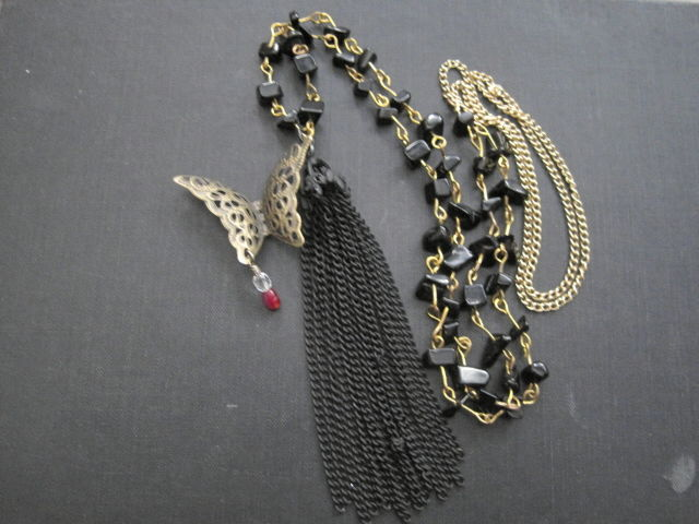 Victorian Butterfly Rosary Bead Tassel Necklace - product images  of