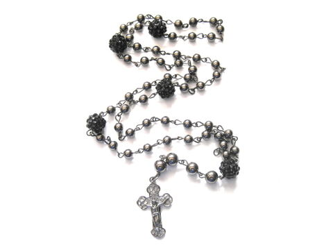Rosary,Bead,Black,Fireball,Pearl,Necklace,Rosary Bead Necklace, Black Fireball, rosary Pearl Necklace