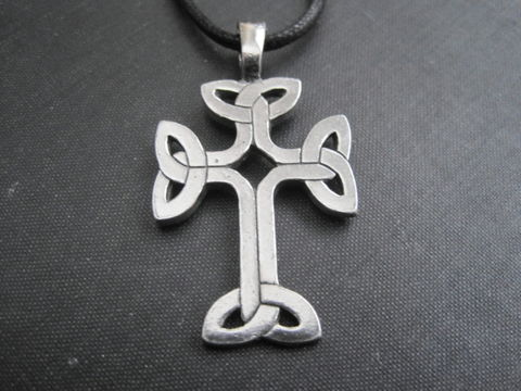 Celtic,Knot,Cross,Amulet,Cord,Necklace,Celtic Knot Cross Amulet Cord Necklace