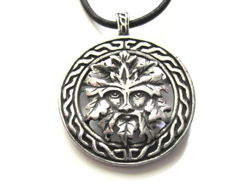 Celtic,Green,Man,Cord,Necklace,Celtic Green Man Cord Necklace, pagan, wiccan jewelry, green man, cernunnos, god, greenman, celtic amulet, unisex jewelry