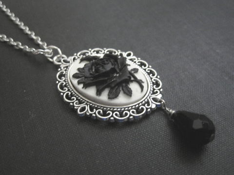 Gothic,Black,Rose,Cameo,Necklace,Gothic Black Rose Cameo Necklace