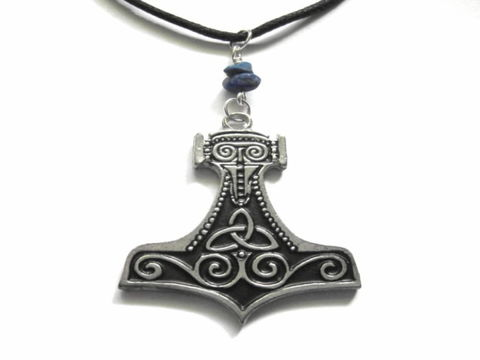 Thors,Hammer,Lapis,Lazuli,Cord,Necklace,Thors Hammer Lapis Lazuli Cord Necklace, norse god, mystic jewelry, god of thunder