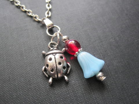 Ladybug,Blue,Lily,Good,Luck,Necklace,ladybug, silver, antique silver, blue, lily, red, vamps jewelry, insect, good luck jewelry, magical jewelry, beetles, insect jewelry, summer