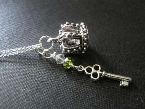 Silver,Royal,Crown,Key,Necklace,,3-D,Necklace,Silver Royal Crown Key Necklace, 3d crown necklace, silver filled necklace