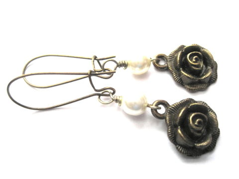Vintage,Style,Antique,Gold,Rose,Pearl,Dangle,Earrings,antique, brass, rose, pearl, dangle earrings, vintage style, romantic jewelry, vamps jewelry, handmade