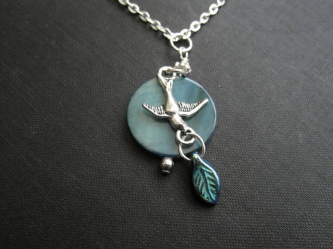 Blue,Moon,Mother,of,Pearl,Bird,Necklace,mother of pearl necklace, blue moon necklace, bird necklace, bird, swallow, sparrow, dove, leaf, iridescent necklace, romantic necklace, romantic jewelry, bird jewelry, vamps jewelry, handmade, silver, blue
