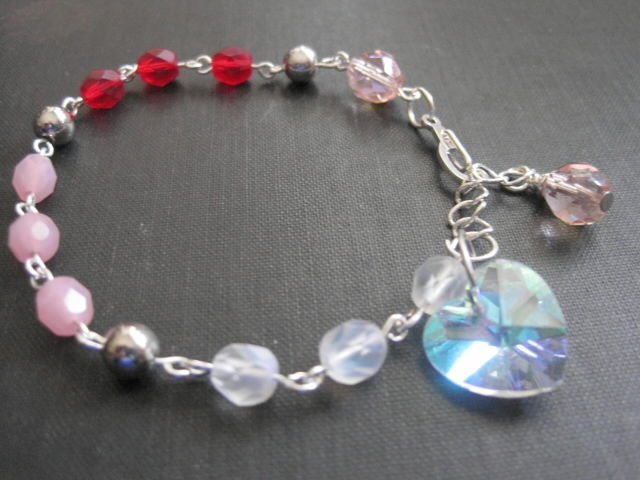 Romantic Love Blush Crystal Heart Bracelet