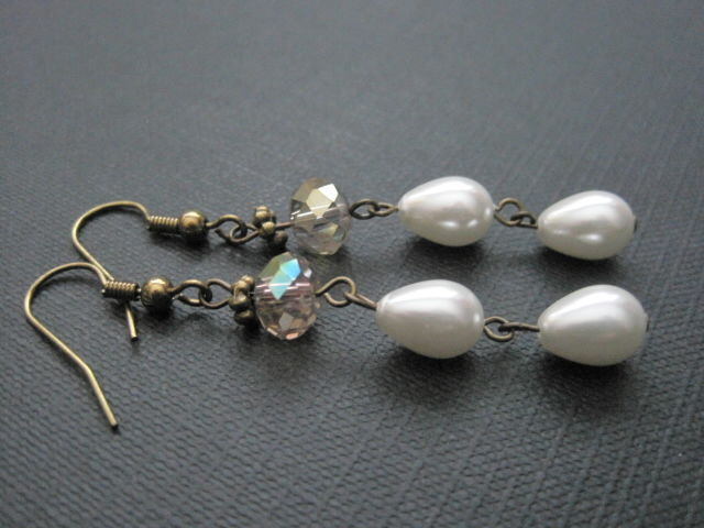 Antique Gold Pearls Crystal Dangle Earrings Vamps Jewelry Gothic Victorian