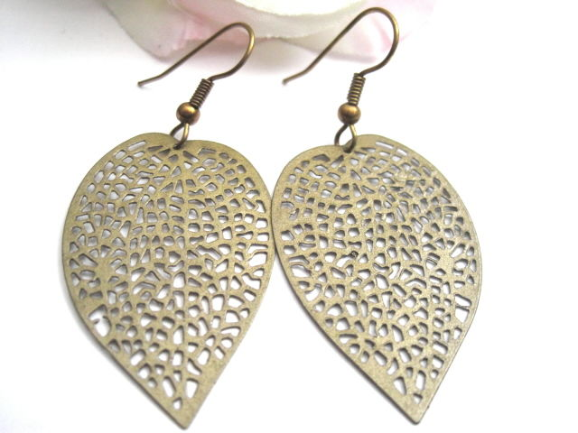 Antique Bronze Filigree Leaf Dangle Earrings Product Images Of