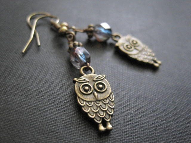 Antique Gold Owl Dangle Earrings Vamps Jewelry Gothic Victorian
