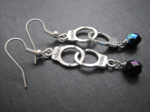 Handcuff,Dangle,Earrings,handcuff earrings, punk earrings, fetish jewelry, gothic, rock earrings, cuffs, blue, silver, wire wrapped, vamps jewelry