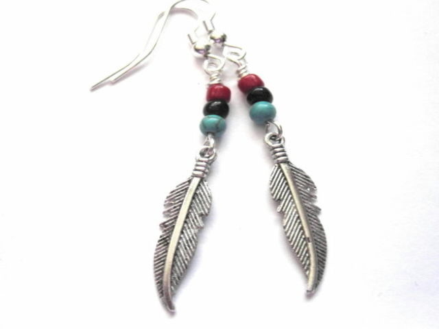 Feather Turquoise Magnesite Dangle Earrings Vamps Jewelry Gothic Victorian