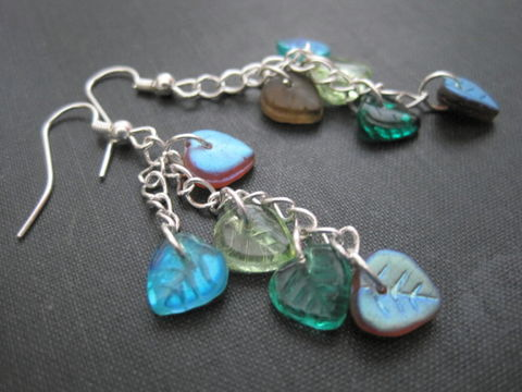 Multi,Leaf,Cluster,Chain,Dangle,Earrings,cluster leaf earrings, leaf and chain dangle earrings, multi leaf cluster chain dangle earrings, teal, peridot green, turquoise, red, brown, silver, handmade, vamps jewelry
