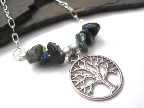 Tree,of,Life,Necklace,,Lapis,Lazuli,Jasper,Necklace,Tree of Life Necklace, Lapis Lazuli Jasper Necklace, blue lapis lazuli, fancy jasper