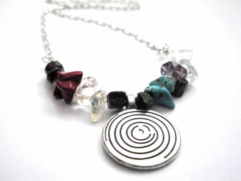 Seven,Chakras,Spiral,Swirl,Gemstone,Necklace,Seven Chakras Spiral Swirl Gemstone Necklace