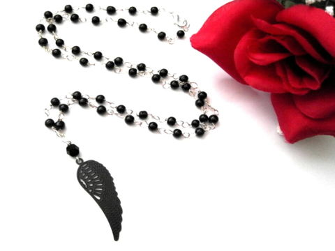Angel,Wing,Black,Beaded,Necklace,Angel Wing Black Beaded Necklace