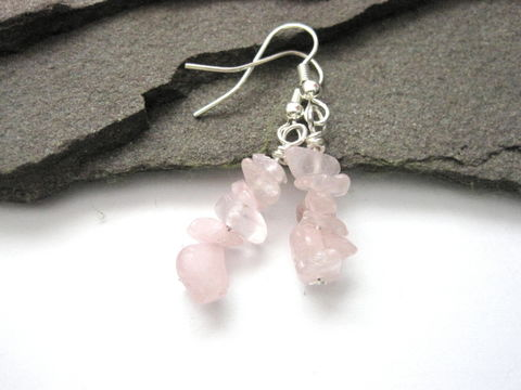 Rose,Quartz,Gemstone,Nugget,Chip,Dangle,Earrings,rose quartz nugget chip dangle earrings, gemstone nugget earrings, rose quartz chip gemstone earrings, vamps jewelry, gemstone jewelry rose quartz, pink quartz