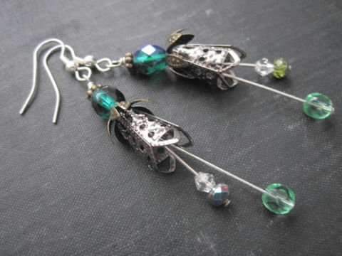 Green,Fairy,Magic,Bell,Flower,Dangle,Earrings,fairy, green, magical, bell flower, dangle earrings, handmade, wire wrapped, vamps jewelry, gunmetal, antique brass, fantasy jewelry, magical jewelry, fairy jewelry, magic realm jewelry, pixie, woodland fary, forest fairy
