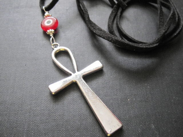 Ankh Cross Red Evil Eye Gothic Cord Necklace Vamps Jewelry Gothic