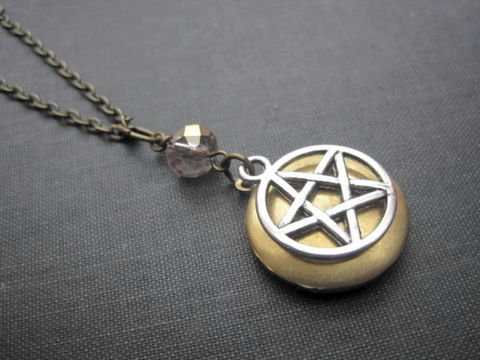 Pentacle,Locket,Necklace,,Mystic,Witch,Pentacle Locket Necklace, mystic pentacle locket necklace, witch locket necklace,brass, round, locket, necklace, pentacle, pentagram