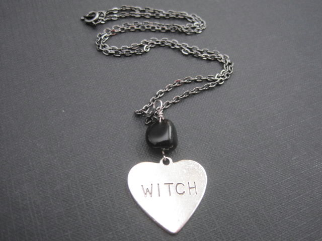 Gothic Witch Heart Onyx Necklace  - product images  of