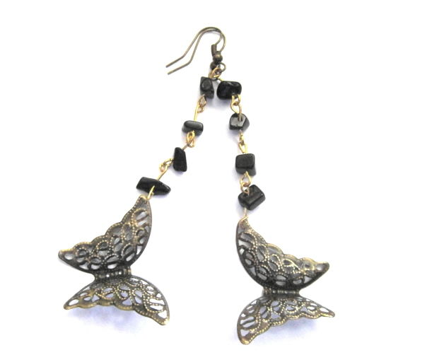 Filigree Butterfly Beaded Victorian Dangle Earrings  - product images  of