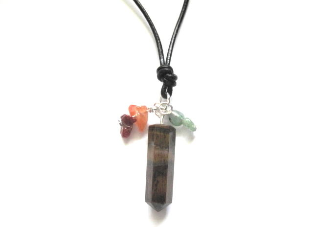 Tiger Eye Leather Cord Necklace, Green Aventurine, Red Agate, Gemstone Necklace   - product images  of