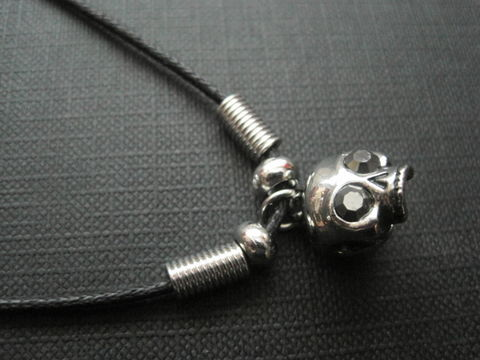3-D,Mini,Skull,Cord,Gothic,Necklace,3-D Mini Skull Cord Gothic Necklace, jaw less skull, pirate, punk, rock