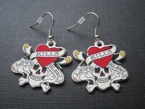 Tattoo,Metal,Skull,Love,Kills,Dangle,Earrings,Tattoo Metal Skull Love Kills Dangle Earrings, Halloween, skulls, rebel, Ed Hardy