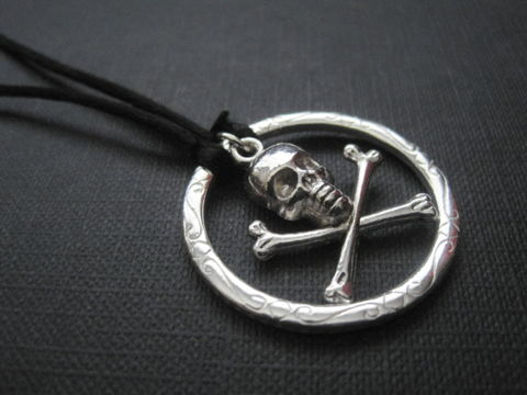 Skull,Crossbones,Pirate,Cord,Necklace,Skull Crossbones Pirate Cord Necklace, rebel, pirate, skull, crossbones