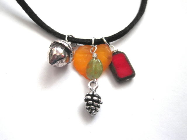 Pinecone Peridot Acorn Cord Necklace - product images  of
