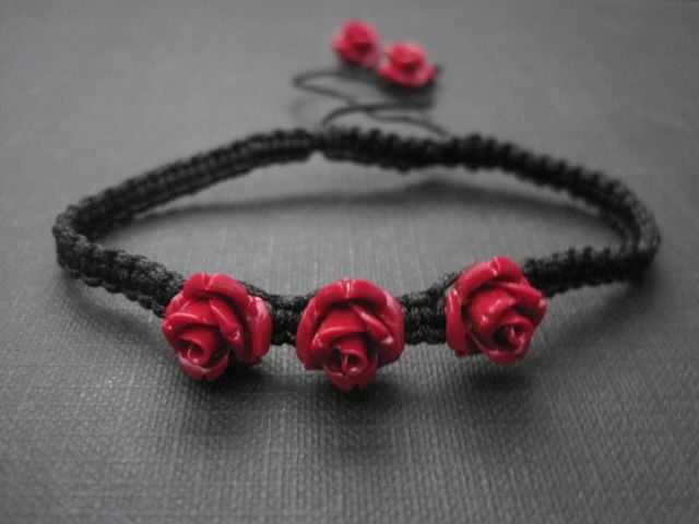 Red Rose Macrame Bracelet Vamps Jewelry Gothic Victorian Jewelry