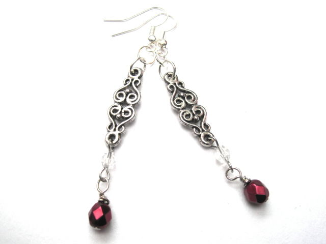 Antique Silver Filigree Link Victorian Drop Earrings Vamps Jewelry Gothic