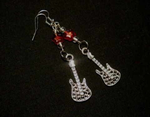 Rock,Guitar,Red,Star,Dangle,Earrings,Rock Guitar Red Star Dangle Earrings