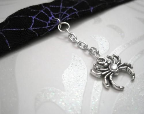 Spiderweb Spider Gothic Choker Black Purple - product images  of