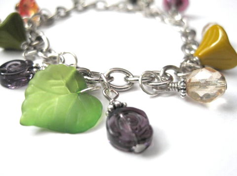 Bell,Flowers,Leaf,Charm,Bracelet,Bell Flowers Leaf Charm Bracelet, spring flowers, bell flowers, bell shape, leaf, floral, garden, charm bracelet, bracelet, charms, glass, flowers, spring time, summer bracelet, nature, green, purple, yellow, turquoise blue, red orange, flower bracelet, h