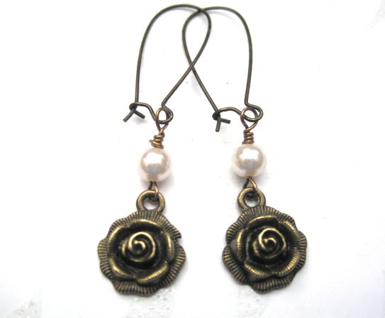 Vintage Style Antique Gold Rose Pearl Dangle Earrings Product Images Of